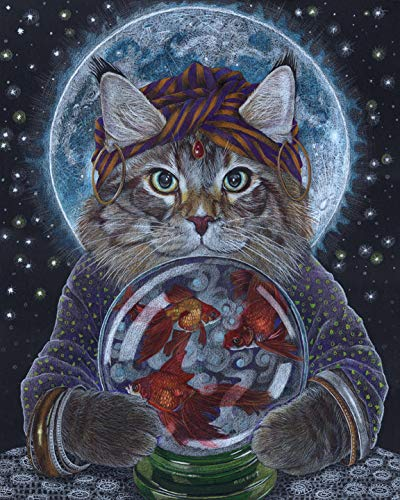 Fortune Teller Cat, 8x10 Art Print by Wendy Hogue Berry
