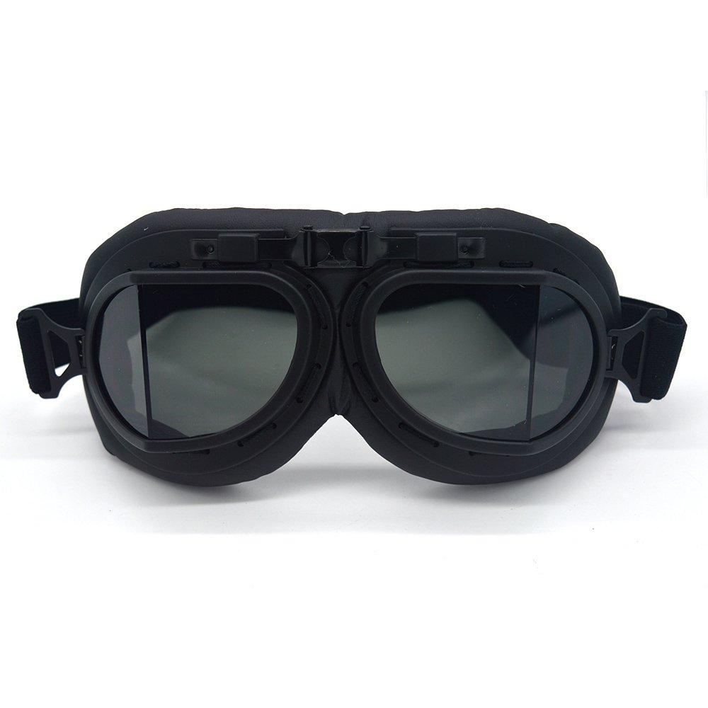 Evomosa Vintage Goggles Aviator Pilot Style Motorcycle Cruiser Scooter Goggle Bike Racer Cruiser Touring Half Helmet Goggles (Black, Smoke)