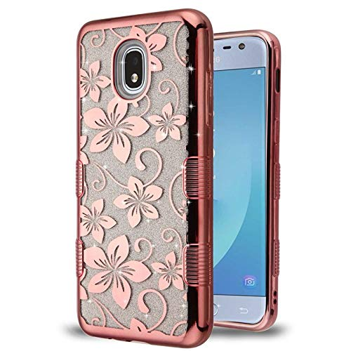 Insten Tuff Hibiscus Flower Dual Layer Hybrid PC/TPU Rubber Case Cover Compatible with Samsung Galaxy Express Prime 3/J3 (2018)/J3 Achieve/J3 Star/J3 V 3rd Gen (2018), Rose Gold