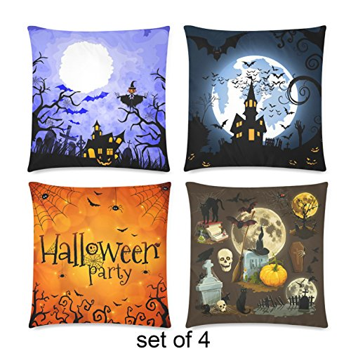 InterestPrint 4 Pack Halloween Party Cushion Pillow Case Cover 18x18 Twin Sides, Haunted House Spider Web Zippered Cotton Throw Pillowcase Set Home Decoration for Couch Bed