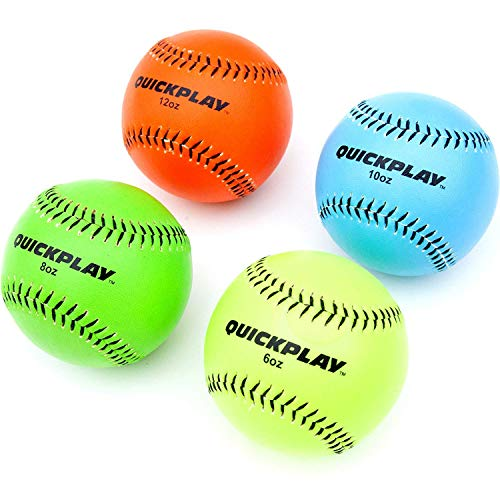 QuickPlay Weighted Baseballs Set of 4 (6oz, 8oz, 10oz, 12oz) | Weighted Training Baseball/Weighted Pitching Balls for Throwing & Pitching Training – 2YR Warranty – New for 2018 ()