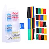 100PCS Solder Seal Wire Connector + 328PCS Heat Shrink Tubing Set, Heat Shrink Butt Terminals Waterproof Automotive Copper Connectors,2:1 Electrical Insulated Sleeving Assorted Wrap Wire