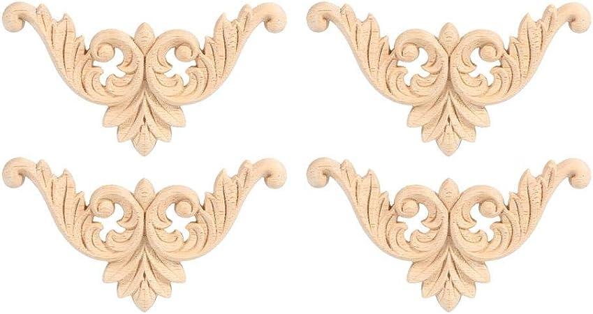 Vosarea 4 Pezzi intarsiato in Legno Intagliato Angolo Applique Decorazione Stile Europeo Applique Porta