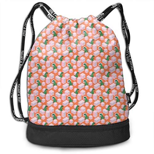 Drawstring Bag Dino Monster In Night City Pink String Bag Durable Gym Sack Waterproof Cinch Bags Large Drawstring Bag For -