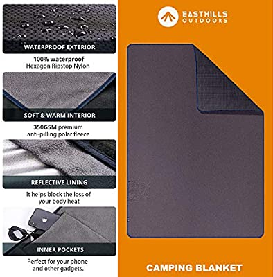 Outdoor and Picnic Easthills Outdoors Mammoth Extreme Weather Polar Fleece 350GSM Blanket Extra Large All Weather Throw Blanket 58 x 84 4.1 lb Waterproof//Windproof for Camping