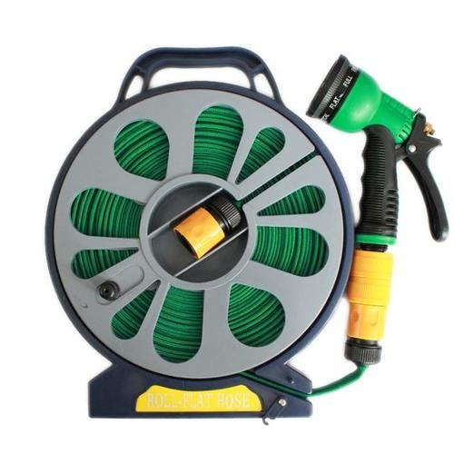 50FT FLAT GARDEN HOSE PIPE & REEL WITH SPRAY GUN OUTDOOR WATERING 15M HOSE PIPE BIG DISCOUNTS UK
