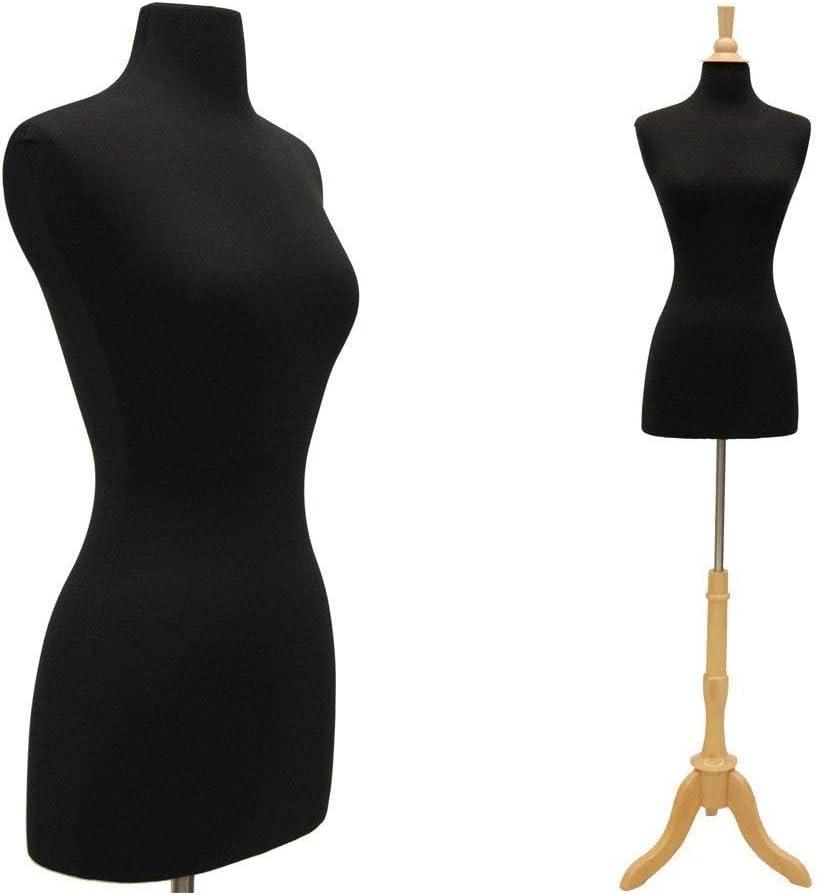 (JF-F6/8BK+BS-01NX) Roxy Display New Black Female Dress Form Size 6-8 Medium Size with Triple Wooden Base Solid Foam 36.5