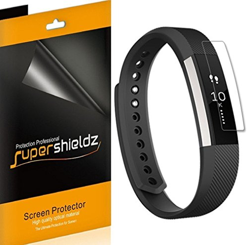 [6-Pack] Supershieldz for Fitbit Alta HR Screen Protector, [Full Screen Coverage] Anti-Bubble High Definition Clear Shield -Lifetime Replacements Warranty - Retail Packaging