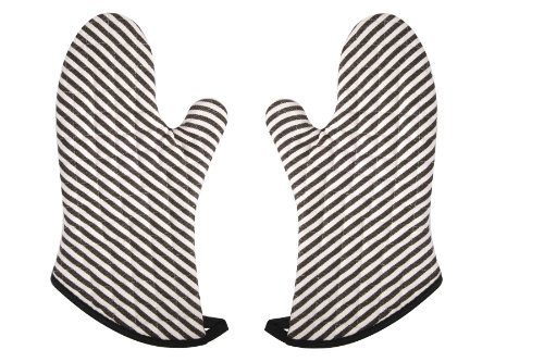 (Now Designs Superior Oven Mitt, Narrow Stripe Black, Set of 2)