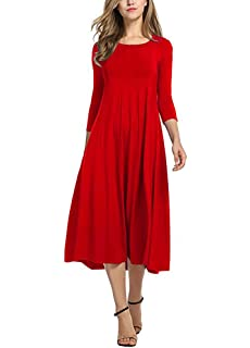 dcf0c21e079 Ladybranch Women s 3 4 Sleeves Solid Color Casual Long Dress A-Line Loose  Pleated