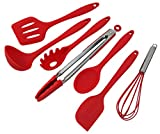 SimplexSilicone Classic 7pc Premium NonStick Heat Resistant Silicone Cooking Kitchen Utensils with Hygienic Solid Coating - Includes Spoon, Spatula, Pasta Fork, Turner, Ladle, Tongs, Whisk (Apple Red)