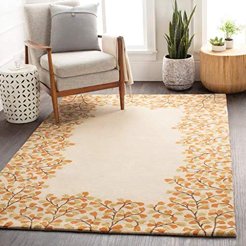 (Chulmleigh Solid Border 2' x 3' Rectangle Transitional 100% Wool Wheat/Burnt Orange/Khaki/Dark Brown Area Rug)