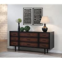 Preston Durable 9-drawer Cherry/Rubberwood Black Mid-century Modern Style Dresser