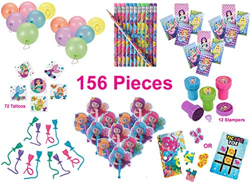 Mermaid Party Favors, Birthday Pack for 12 Kids – 156 Pieces – Novelty Toys – Notebooks, Pencils, Stampers, Folding Fans, Sticky Tails, Rainbow Punch Balloons, 12-Piece Sea Life Puzzles/Tic-Tac-Toe Game, -