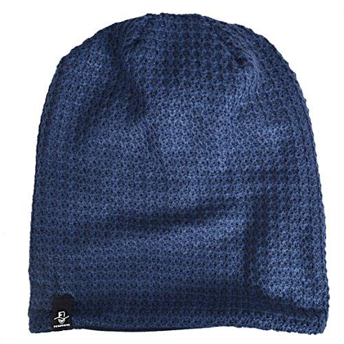 Hombre marino Slouchy Oversize para azul FORBUSITE de Beanie Punto Larga Gorra Verano Invierno para 5FSwwOqn