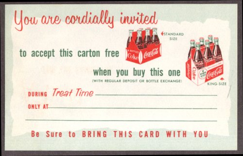 Coca-Cola Free carton w/ King-Size purchase card