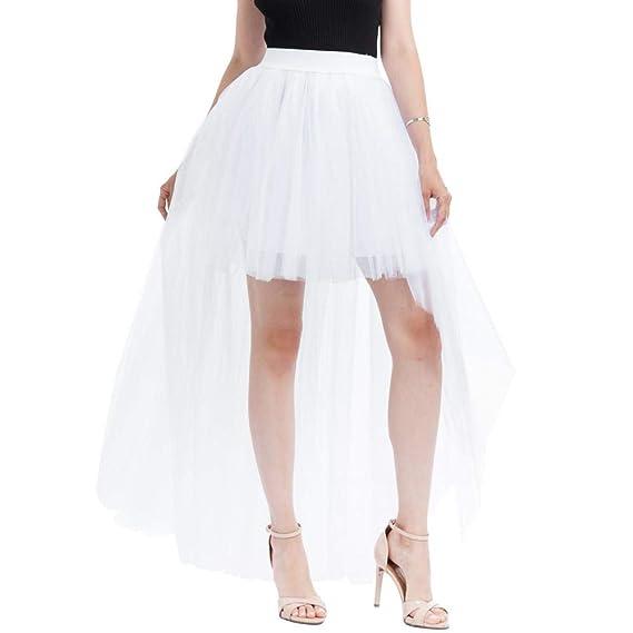 f014c314f VJGOAL Mujeres Verano Moda Casual Color sólido Malla Tul Falda ...