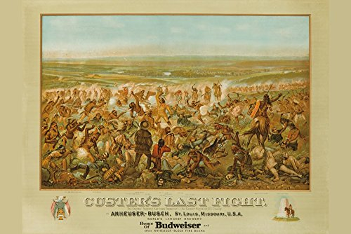 Custer's Last Fight - Anheuser - Busch - Budweiser Vintage Poster (artist: Becker) USA c. 1936 (24x36 Collectible Giclee Gallery Print, Wall Decor Travel Poster) - Anheuser Busch Collectibles