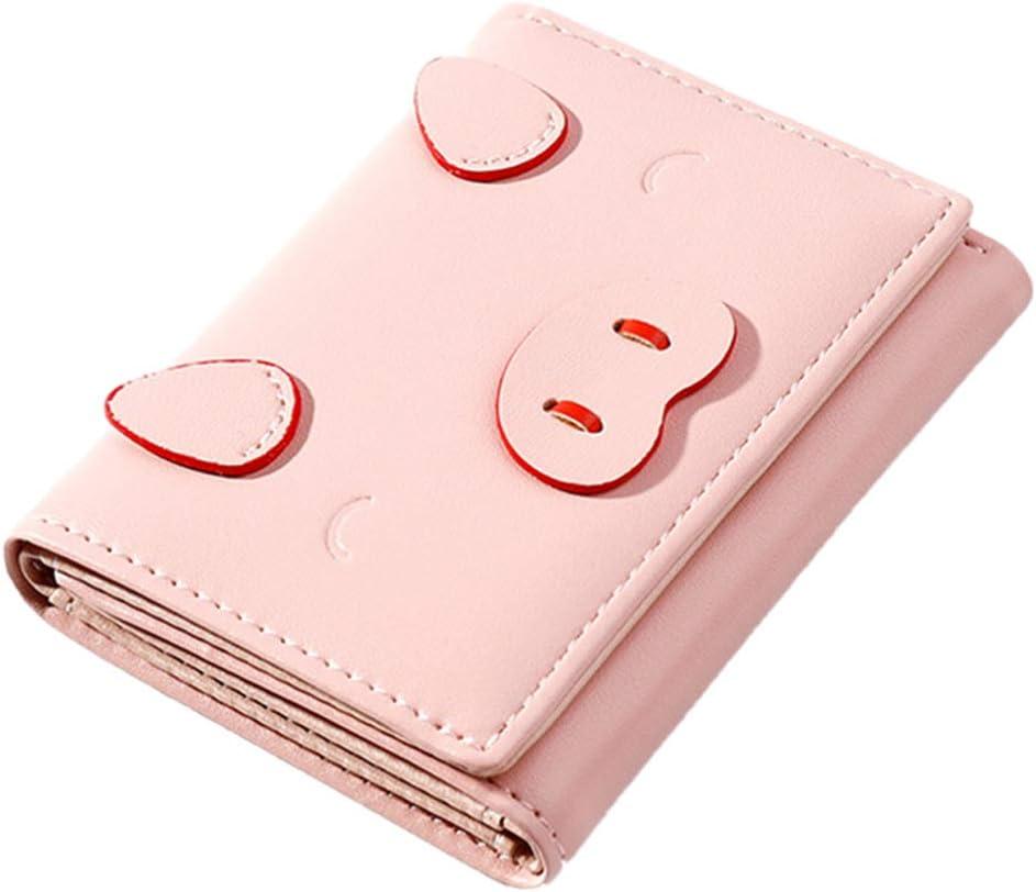 KESYOO Carteras de Cuero de Dibujos Animados Monedero de Cerdo Lindo Portatarjetas Multiusos Monedero para Mujer Monedero Mini Monedero Corto Monedero de Cuero para Mujer Señora (Rosa)