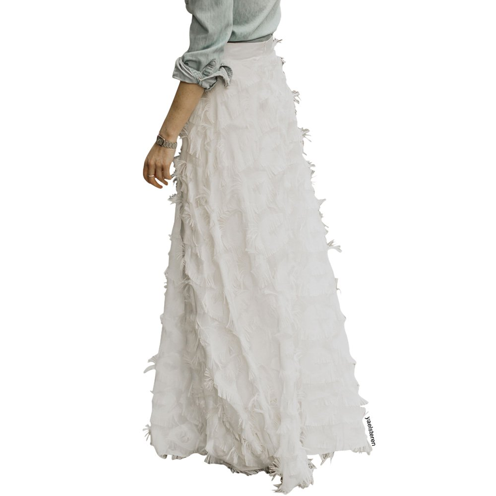 1d5ce146d Chicwish Women's White/Black 3D Feathers Tassel A-Line Maxi Chiffon Skirt  at Amazon Women's Clothing store: