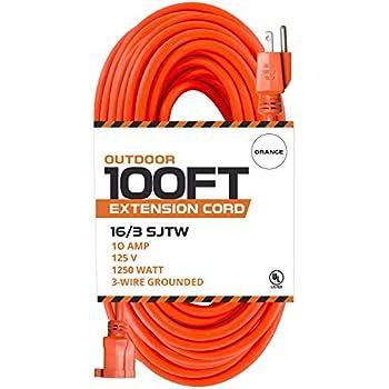 100 Ft Orange Extension Cord 16 3 Sjtw Heavy Duty