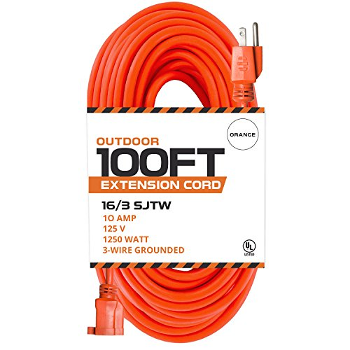 100 Ft Orange Extension Cord - 16/3 SJTW Heavy Duty Outdoor Extension Cable with 3 Prong Grounded Plug for Safety - Great for Garden & Major (16/3 Outdoor Extension Cord)
