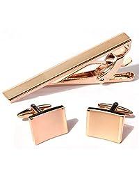 Bend Rectangle Cufflinks Rose Gold Platinum Plated Men Tie Bar Clip and Cufflinks Set for Men's Shirt