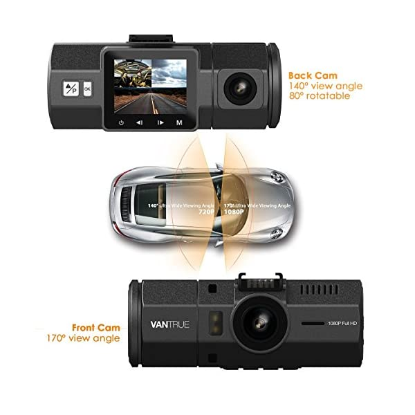 UPGRADED Vantrue N2 Dual Dash Cam 1080P Front And Rear Dual Lens Car Camera 15 Near 360 Wide Angle Dashboard Camera Car DVR Video Recorder W Parking Mode G Sensor HDR Super Night Vision