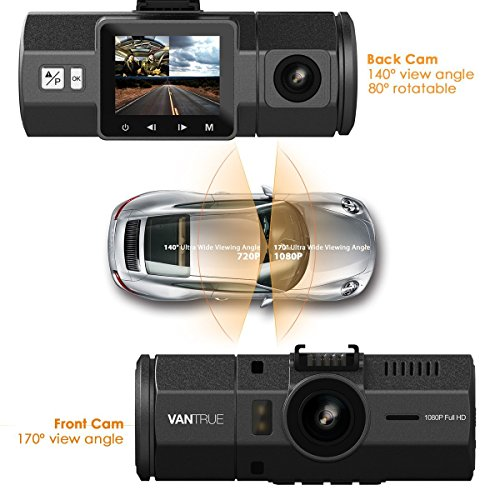 [UPGRADED] Vantrue N2 Dual Dash Cam - 1080P Front and Rear Dual Lens Car Camera 1.5'' Near-360° Wide Angle Dashboard Camera Car DVR Video Recorder w/ Parking Mode, G-Sensor, HDR & Super Night Vision by VANTRUE (Image #1)