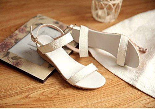 Chfso Mujeres Fashion Latest Open Sandalias De Tacón Bajo Con Suela Blanca