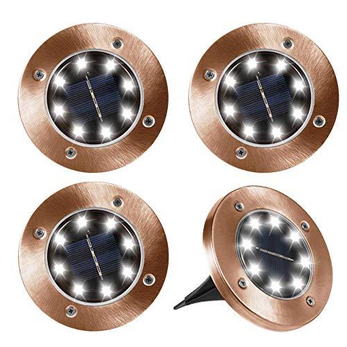 Newfen Solar Ground Lights Outdoor, Disk Lights Garden Pathway Outdoor In-Ground Solar Lights With 8 LED (4 Pack; Brown)