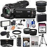 Panasonic HC-WXF991 Wi-Fi 4K Ultra HD Video Camera Camcorder with 64GB + Case + Tripod + LED Light + 2 Mics + Filters + Fisheye, Tele/Wide Lenses Kit