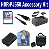Sony HDR-PJ650 Camcorder Accessory Kit includes: SDNPFV50NEW Battery, SDM-109 Charger, KSD48GB Memory Card, SDC-27 Case, HDMI6FMC AV & HDMI Cable, LED-70 On-Camera Lighting