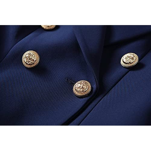 2018 Designer Blazer Jacket Women's Gold Buttons Double