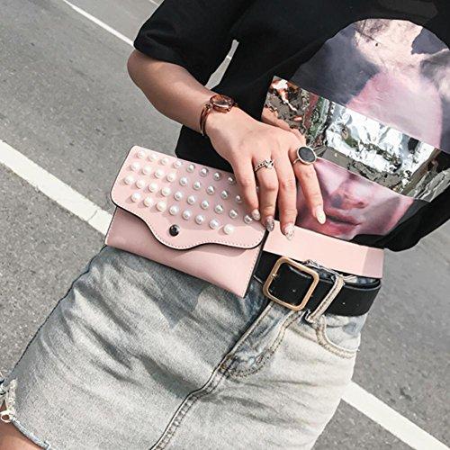 Mini Rivets PU Bag Shoulder Bags Pink Leather Waist Pearls Everpert Pack Women Fanny Belt gFSxTpFn