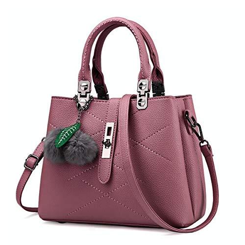 Tisdaini Women's Handbag Fashion Lychee Hanging Hair Ball Shoulder Messenger Bag Dark Red