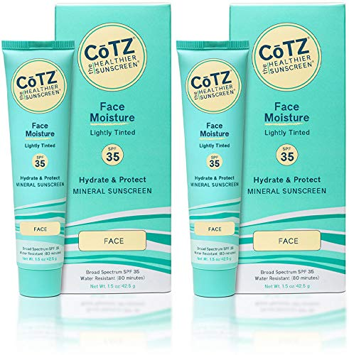 CoTZ Face Moisture Lightly Tinted SPF 35 Mineral Sunscreen (Pack of 2), Plant Based, With Titanium Dioxide and Zinc Oxide, Reef Safe, Water Resistant, No Animal Testing, Preservative Free, 1.5 oz (Moisture Face Tinted)