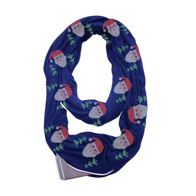 ALIKEEY Mujeres Imprimir Navidad Infinity Bufanda Pocket Loop Cremallera Pañuelos De Bolsillo Navidad Naruto Copa Steampunk Disfraz Alta Azul Marino: ...