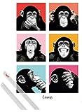 Poster + Hanger: Affen Poster (91x61 cm) Pop Art Schimpansen Porträts Inklusive Ein Paar 1art1® Posterleisten, Transparent