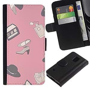 KingStore / Leather Etui en cuir / Samsung Galaxy S5 V SM-G900 / Diseño Ropa rosada Zapatos;