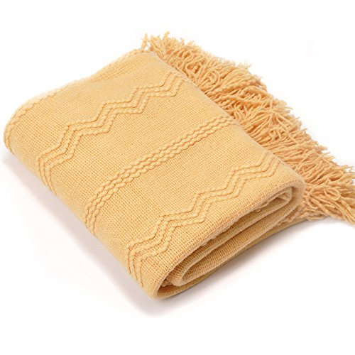 - Battilo Intricate Woven Throw Blanket with Raised Patterns and Tasseled End, Yellow