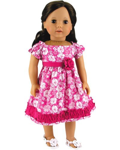18 Inch Doll Dress Fits 18 Inch American Girl Dolls, Gathered Trim Pink Floral Dress by Sophia's American Girl Floral Dress