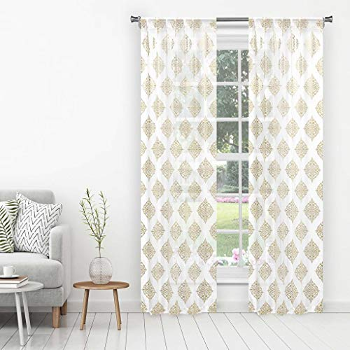 - Home Maison - Nash Printed Metallic Medallion Sheer Pole Top Window Curtains for Living Room & Bedroom - Assorted Colors - Set of 2 Panels (38 X 96 Inch - White & Gold)