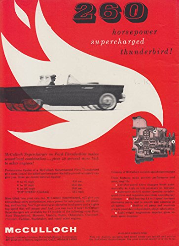 McCulloch 260 horsepower supercharged Ford Thunderbird ad 1955