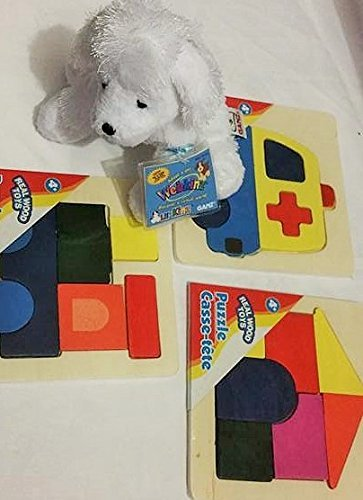 Kids Stuffed Animal Doggie with Red Multipurpose Tote Bag with Puzzles 2 Counts -  Webkinz