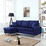 mid century modern linen fabric small space sectional sofa with reversible chaise dark blue