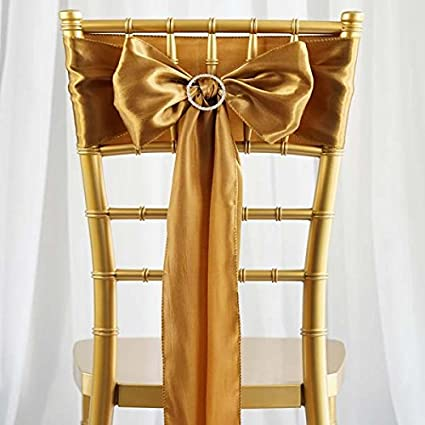 Efavormart 25pcs Gold SATIN Chair Sashes Tie Bows for Wedding Events Decor Chair Bow Sash Party & Amazon.com: Efavormart 25pcs Gold SATIN Chair Sashes Tie Bows for ...