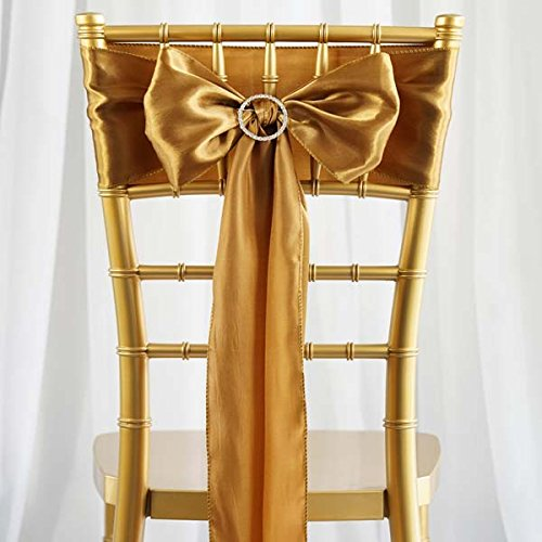 Tableclothsfactory 25pcs Gold SATIN Chair Sashes Tie Bows Catering Wedding Party Decorations 6 x106