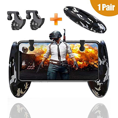 BeBr New Camouflage Mobile Gamepad Game Controller for Knives Out/PUBG/Rules of Survival,Sensitive Shoot and Aim L1R1 Mobile Trigger Game Grip (1 Pair + 1 Gamepad)