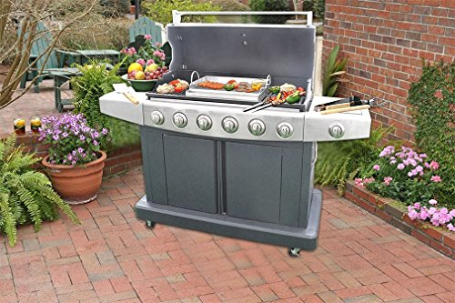 "onlyfire Universal Stainless Steel Rectangular Griddle for Gas BBQ Grills, 23"" x 16"""